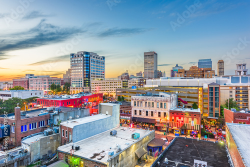 Memphis, Tennesse, USA downtown cityscape at dusk - 290781667