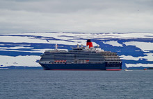 Classic Cunard Cruise Ship Queen Victoria At Sea With Glacier In Iceland