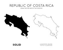 Costa Rica Map. Blank Vector M...