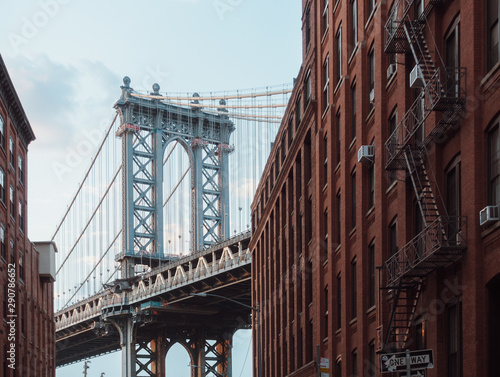 Canvas Prints Narrow alley Manhattan bridge
