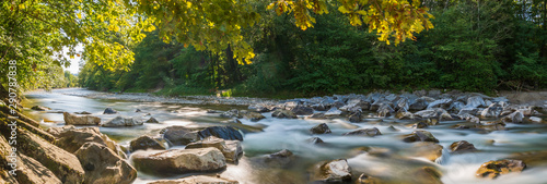 Obraz Natur Panorama am Fluss im Wald - fototapety do salonu