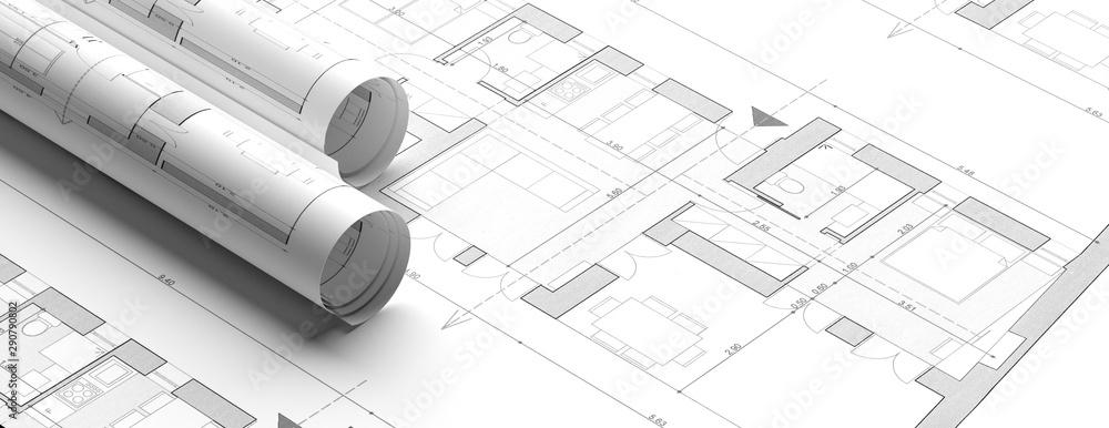 Fototapety, obrazy: Residential building blueprint plans, banner. 3d illustration