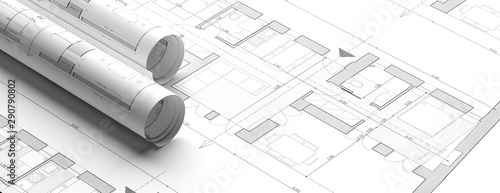 Residential building blueprint plans, banner. 3d illustration
