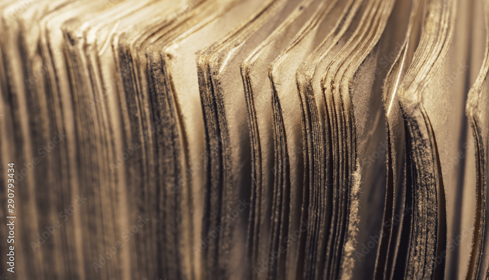 Fototapety, obrazy: Close up old book pages background. Macro view.