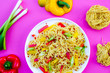 canvas print picture - Egg Noodle and Red Chilli Salad With Peppers