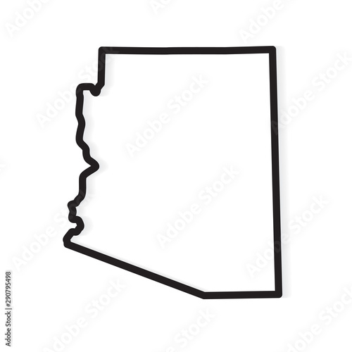 Photo black outline of Arizona map- vector illustration