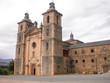 Main facade of the beautiful Abbey of San Andres de Espinareda dated in the 9th century. November 7, 2011. Vega De Espinareda, Leon, Castilla Leon, Spain Europe. Travel Tourism Street Photography