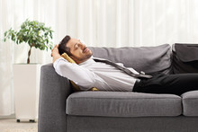 Businessman Resting On Sofa At Home