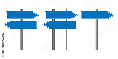 Fototapeta  Blank traffic road sign set, direction empty street signs, blue arrow signposts isolated on white background, vector illustration