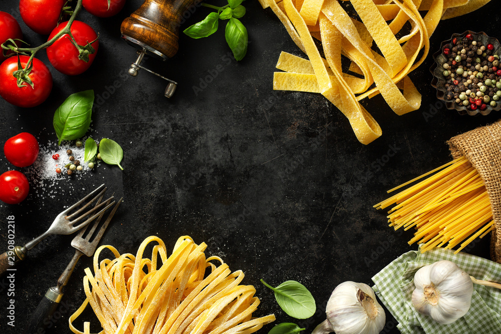 Fototapety, obrazy: Italian food background with ingredients