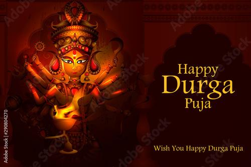 Fototapeta  easy to edit vector illustration of Happy Durga Puja India festival holiday back