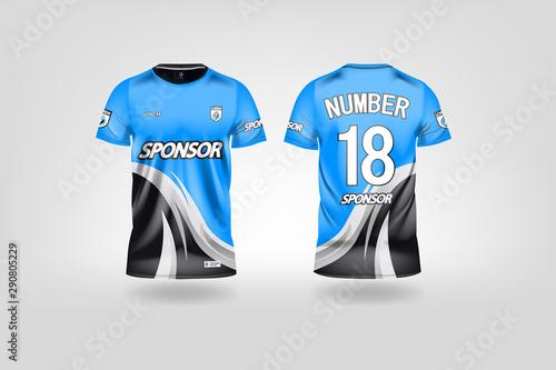Fotomural t-shirt sport design template, Soccer jersey mockup for football club