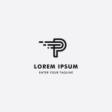 Logo Letter P Or PT Simple Design, Concept Letter P   T   Symbol Fast.