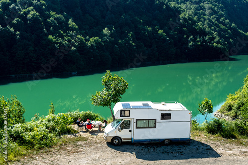 Fototapeta  Family vacation travel RV, holiday trip in motorhome, Caravan car Vacation