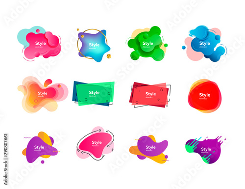 Fototapeta Set of bright abstract figures. Dynamical colored forms and line. Gradient banners with flowing liquid shapes. Vector illustration. Can be used for placard, webinar, presentation obraz na płótnie