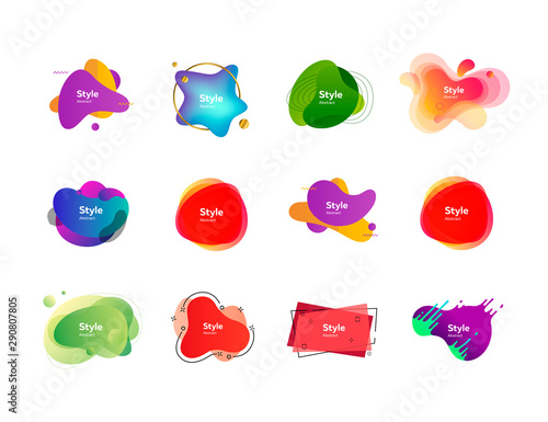 Fototapeta Set of colorful abstract style elements. Dynamical liquid shapes for banners. Trendy minimal templates for presentations, banners, apps and web pages. Vector illustration obraz na płótnie
