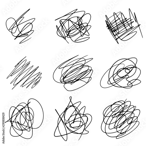 Fotomural Set of hand drawn scribble line shapes. Vector illustration