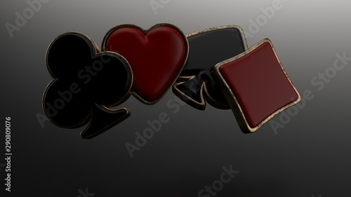 Black And Red Ace Symbols With Golden Metal Frame Canvas Print