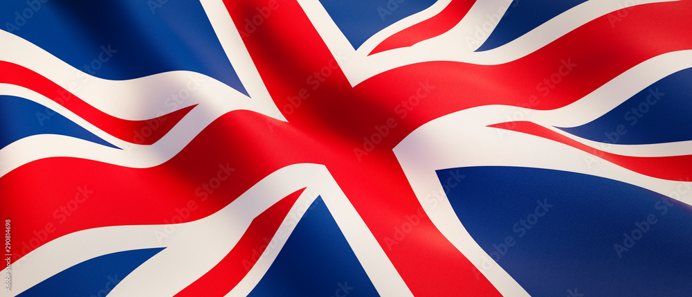 Fototapeta Waving flag of United Kingdom - Flag of Great Britain - 3D illustration
