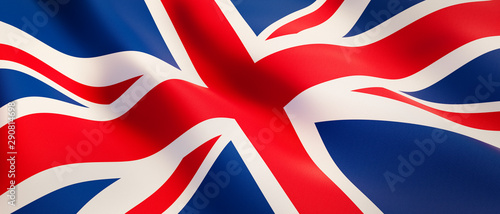 Stampa su Tela Waving flag of United Kingdom - Flag of Great Britain - 3D illustration