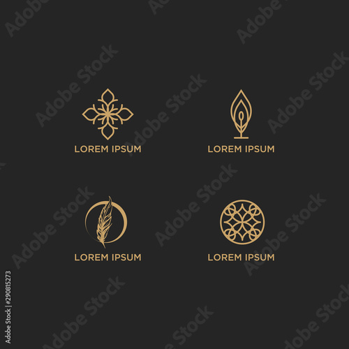 Vector set of logo design templates and emblems in trendy linear style in golden Canvas Print
