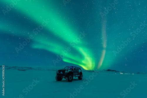 Staande foto Noord Europa Northern lights aurora borealis in the winter