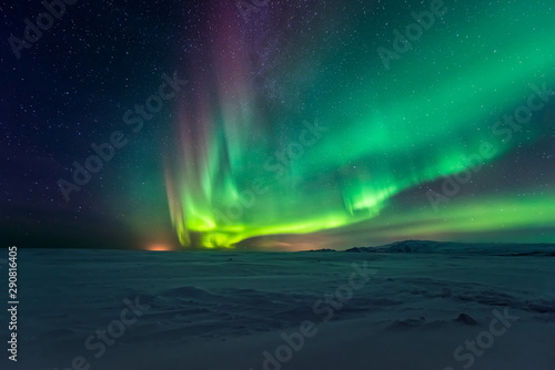 Obraz Northern lights aurora borealis in the winter  - fototapety do salonu