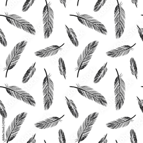 Black and white seamless pattern with ink hand drawn feathers Canvas Print