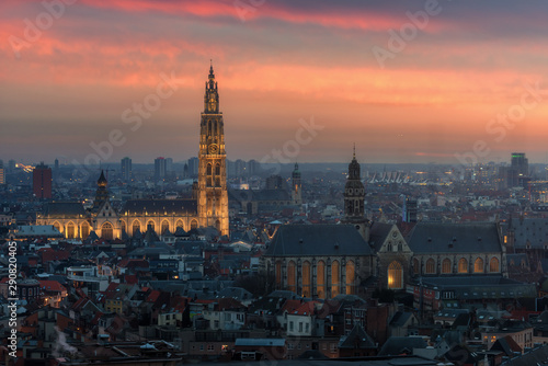 Spoed Foto op Canvas Antwerpen Antwerp cityscape with cathedral of Our Lady, Antwerpen Belgium at dusk