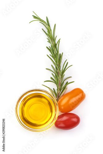 Fototapeta Olive oil in a bowl, isolated on white background obraz