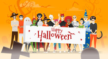Group Of Teens In Halloween Co...