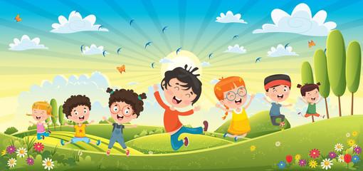 Children Having Fun At Spri...