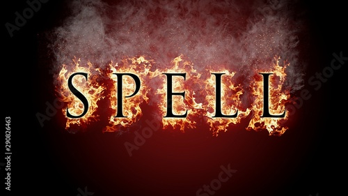 3D rendering flame of fire spell text on black background Canvas-taulu