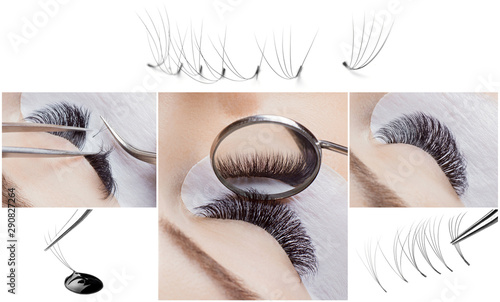 Fototapeta Eyelash extension procedure. Woman master works with tweezers lashes. Collage beauty salon, individual bundles and drop glue obraz