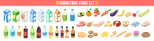 Gastronomy Icons Set In Isometric 3d Style. Food And Drinks Isolated On White Background. Isometric Vector Illustration.