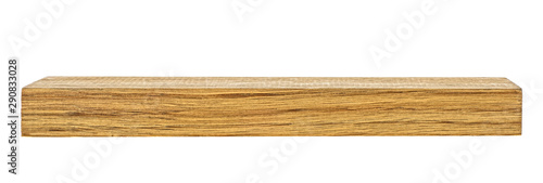 Wooden beam isolated on a white background. Wooden board. Wooden plank.