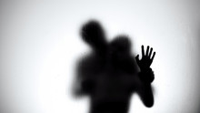 Silhouette Of Lovers Couple Hugging And Kissing In Shower, Intimate Relationship