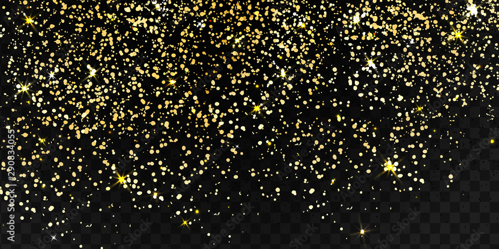 Fototapety, obrazy: Falling shiny particles, Golden Confetti, stars, gold glitter texture isolated on black transparent background. Confetti particles flying in the air. Holiday Decorative tinsel element for Design