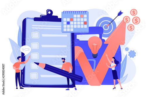 Profit growth strategy idea. Business development solution. Project planning, project plan creation, project schedule management concept. Living coral blue vector isolated illustration