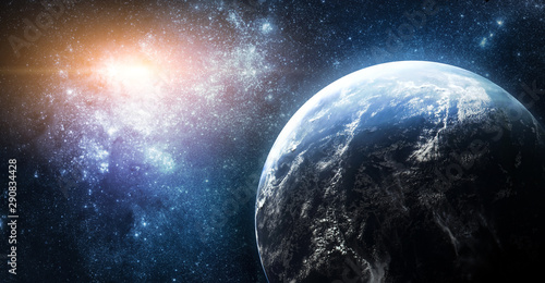 Planet Earth in outer space. Stars and galaxies on background. Nebula. Elements of this image furnished by NASA