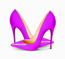 A Pair Of Beautiful Female Shoes On A White Background, Sexy Shoes, Classic. High-heeled Shoes, Patent Leather Shoes. 3D Effect. Vector Illustration. EPS10