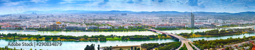 Stunning aerial panoramic cityscape view austrian capital city of Vienna Wallpaper Mural