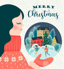 Christmas And Happy New Year Illustration With Cute Woman.