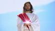 Leinwandbild Motiv Jesus holding spiritual light against sky, concept of healing, religious miracle