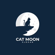 Cat Moon Illustration Logo Design