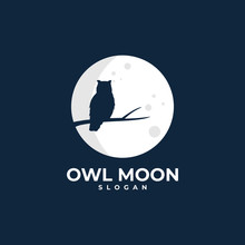 Owl Moon Illustration Logo Des...