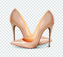 A Pair Of Beautiful Female Pumps On A Transparent Background, Sexy Shoes, Classic. High-heeled Shoes, Nude Color Patent Leather Shoes. 3D Effect. Vector Illustration. EPS10