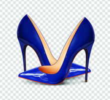 Pair Of Blue Female Pumps On A Transparent Background, Sexy Shoes, Classic. High-heeled Shoes, Blue Patent Leather Shoes. 3D Effect. Vector Illustration. EPS10