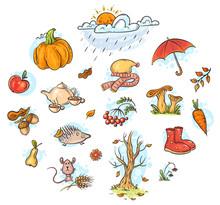 Autumn Clipart Set, Cartoon Ve...