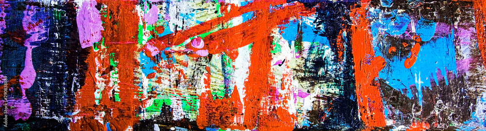 Fototapety, obrazy: Abstract art & multicolor paint; as a fun & inspirational background texture, with grunge patterns - in a wide and long panorama / banner / design.